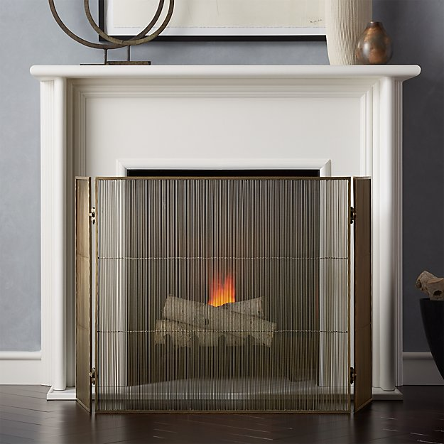 Antiqued 3 Panel Brass Fireplace Screen Reviews Crate And Barrel