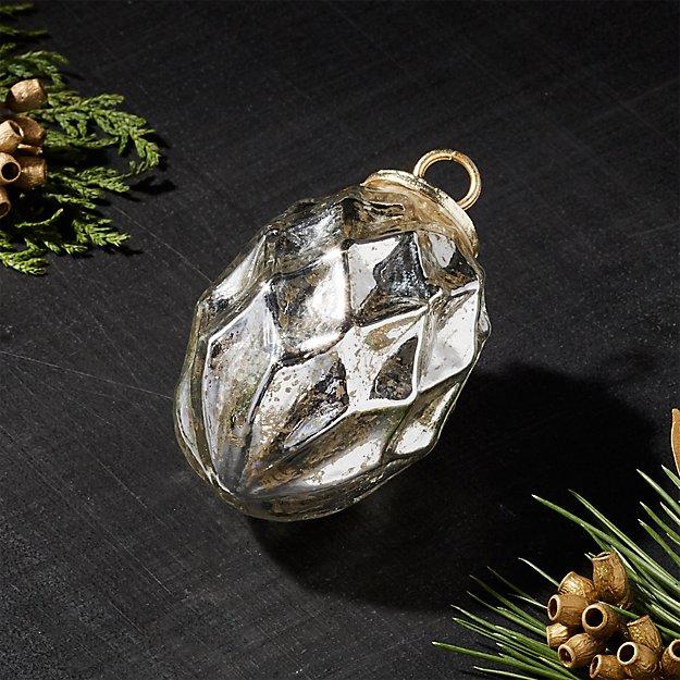 Antiqued Glass Silver Diamond Drop Ornament