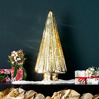 "Antique Glass Gold Lit 15"" Tree"
