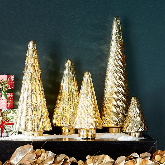 Antique Glass Gold Lit Trees