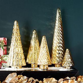 Antique Glass Gold Lit Trees, Set of 5