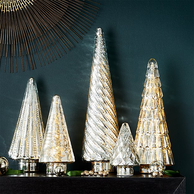 Antique Glass Silver Lit Trees