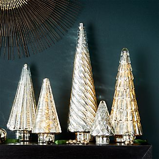 Antique Glass Silver Lit Trees, Set of 5