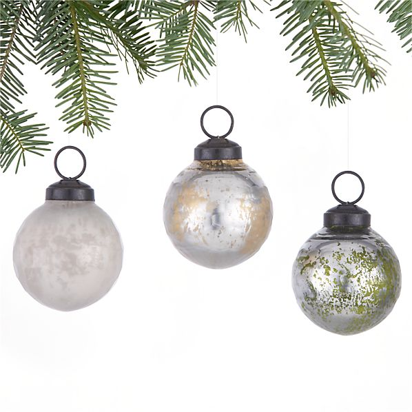 Set of 3 Antiqued Textured Ball Ornaments