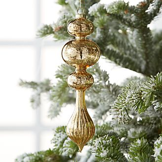 antique gold triple bubble finial ornament