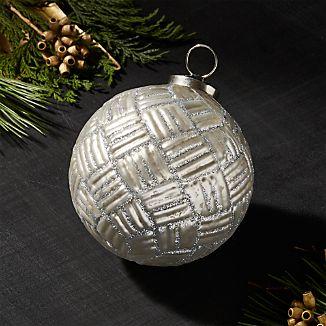 Antiqued Glass Silver Glitter Plaid Ball Ornament
