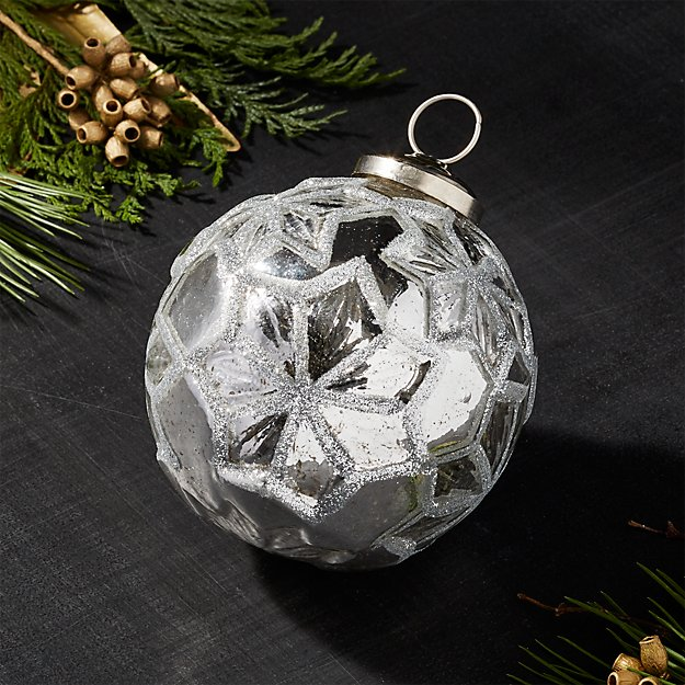 Antiqued Glass Silver Glitter Star Ball Ornament