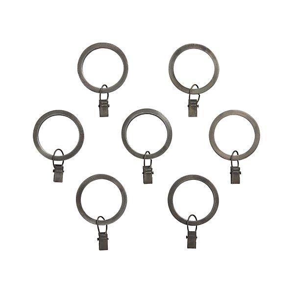 Set of 7 Antiqued Zinc Curtain Rings