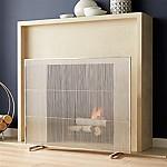 Polished Nickel Fireplace Screen