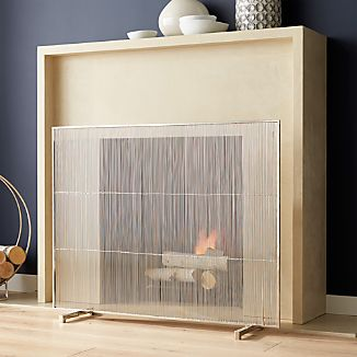 Polished Nickel Fireplace Screen