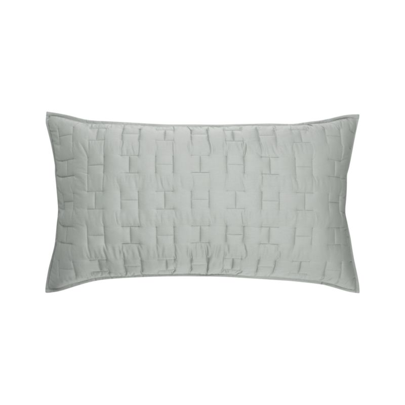 Our sumptuous take on fine bedding tracks modern in soft sateen cotton finely stitched in a crisp geometric repeat.  Sham reverses to self and has generous overlapping back closures. Bed pillows also available.<br /><br /><NEWTAG/><ul><li>100% cotton sateen</li><li>100% polyester fill</li><li>Polyester fill</li><li>Dry clean</li><li>Made in India</li></ul>