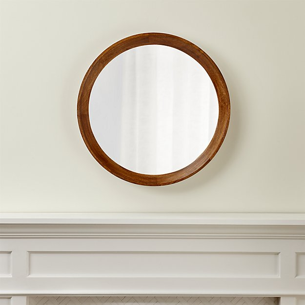Circle Wall Mirrors anurhada mango wood mirror | crate and barrel