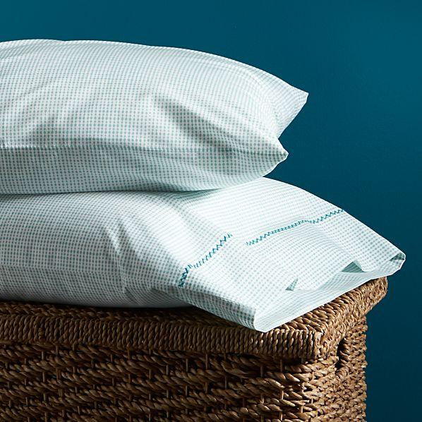 Set of 2 Aqua Beads King Pillowcases