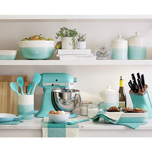 Kitchenaid Customer Service >> KitchenAid Professional Series 7-Piece Knife Block Set Aqua Sky   Crate and Barrel