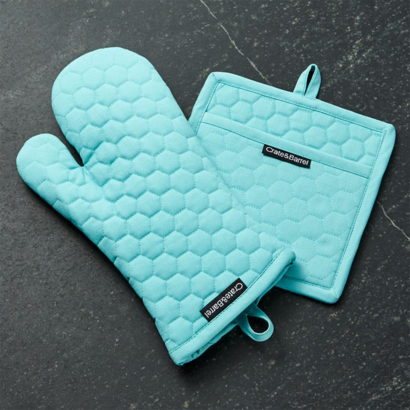 Aqua Blue Oven Mitt And Pot Holder Crate And Barrel