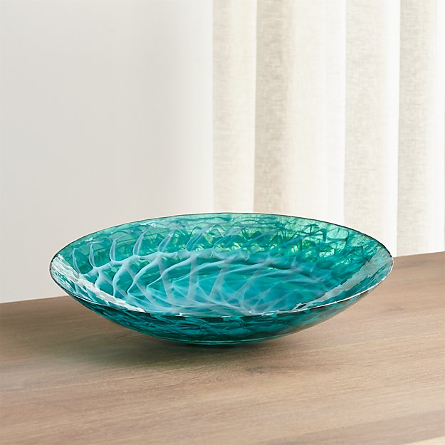 Aquatic Blue Murano Glass Bowl