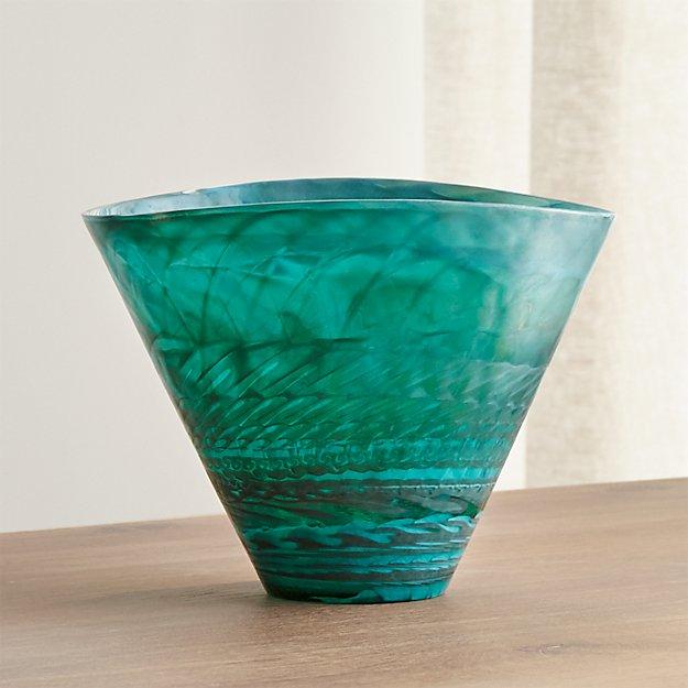 3ad1526a0 Murano Glass Aqua Vase + Reviews | Crate and Barrel