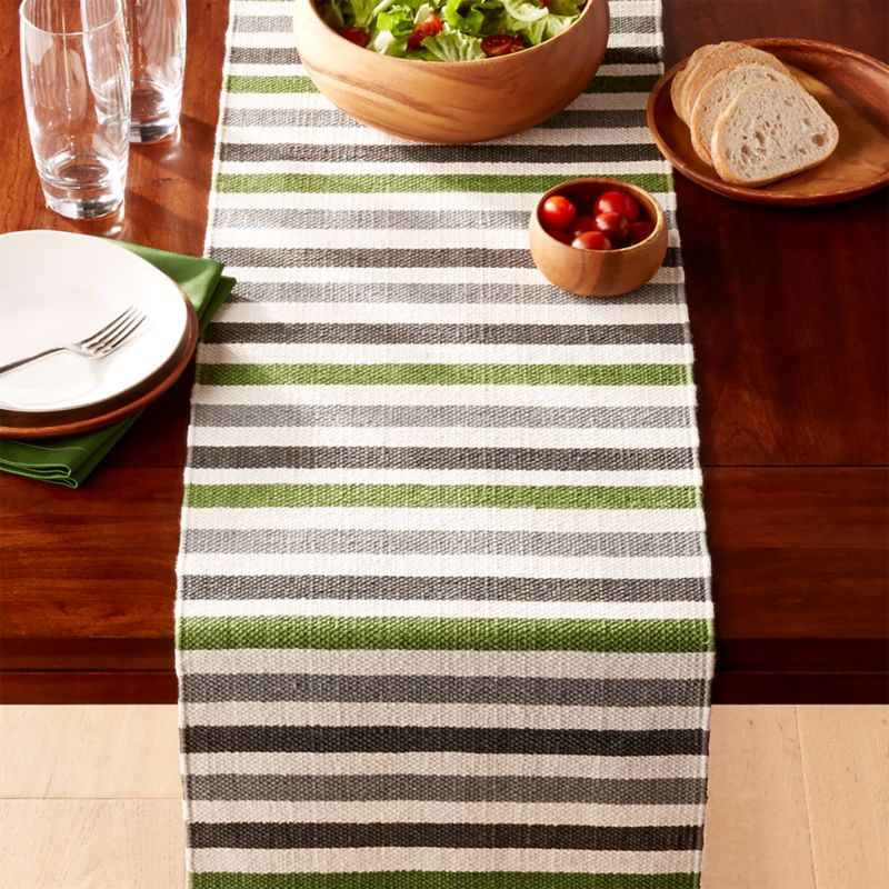 "Arbor Green Stripe Table Runner 120"" by Crate&Barrel"