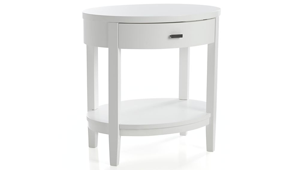 Arch white oval nightstand in nightstands reviews for Crate and barrel arch