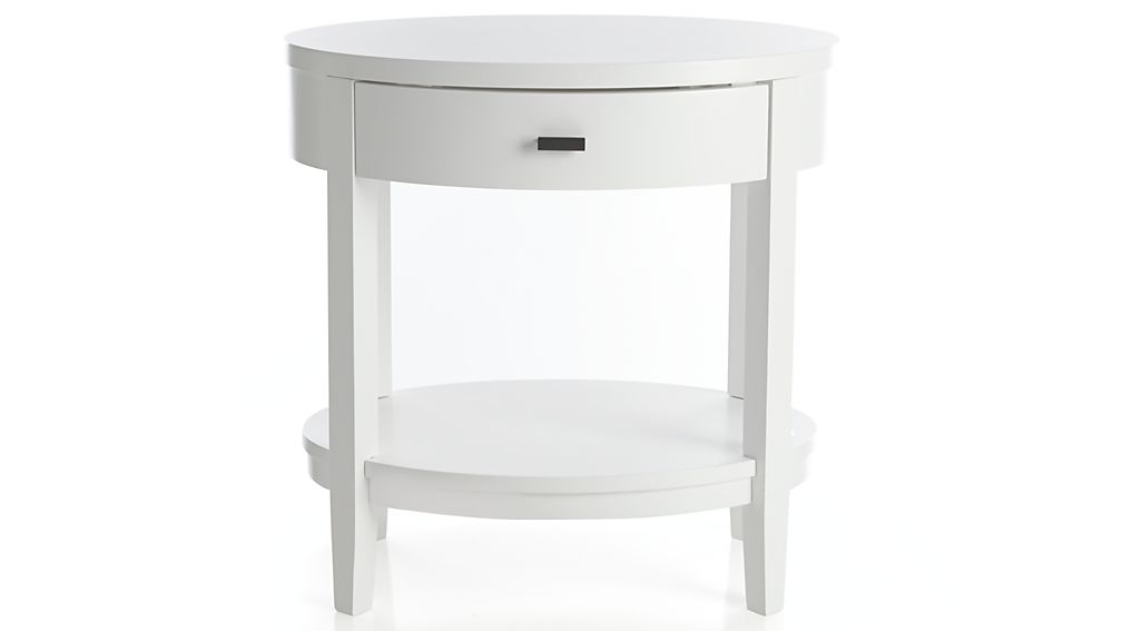 ... Arch White Oval Nightstand ...