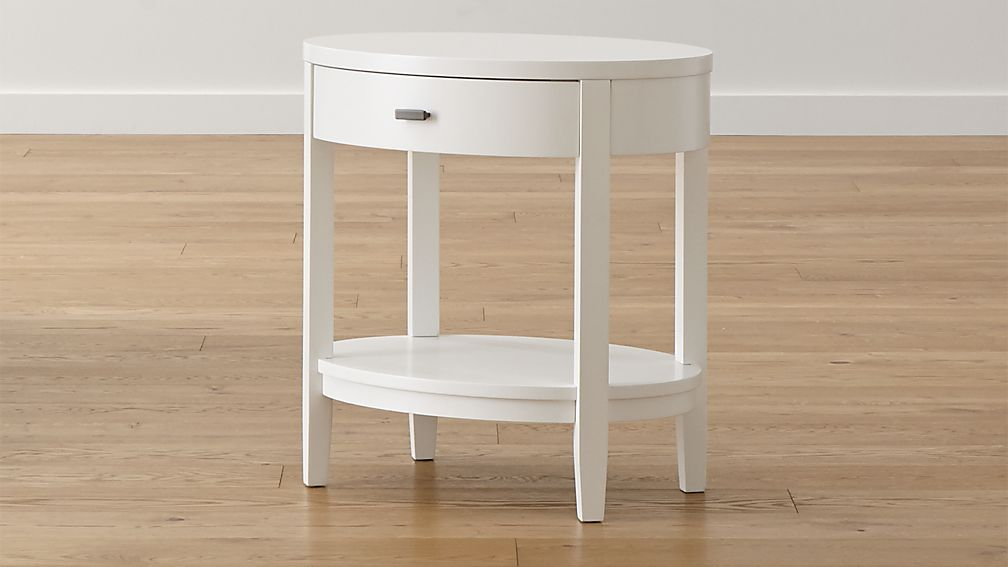 Arch White Oval Nightstand Reviews Crate And Barrel
