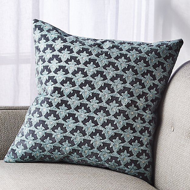 """Arden Embroidered Floral Pillow 20"""" - Image 1 of 5"""