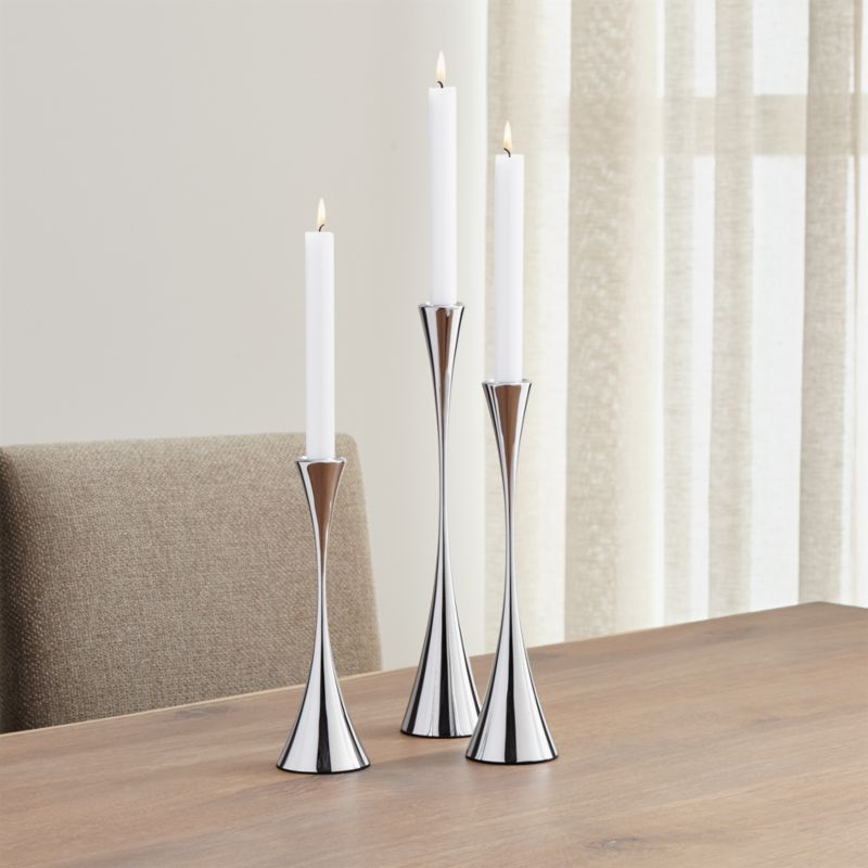 3piece arden mirrored stainless steel taper candle holder set