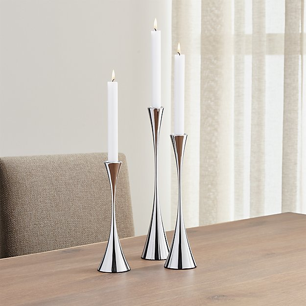 Relatively 3-Piece Arden Mirrored Stainless Steel Taper Candle Holder Set +  DU87