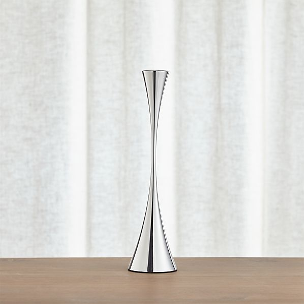 Arden Medium Mirrored Stainless Steel Taper Candle Holder