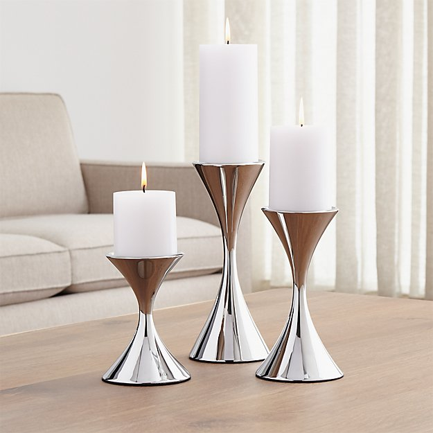 Arden Stainless Steel Pillar Candle Holders Crate And Barrel