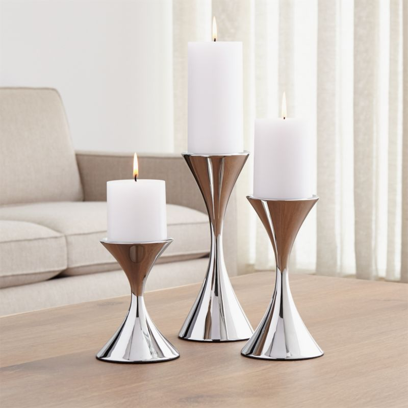 Arden Stainless Steel Pillar Candle Holders