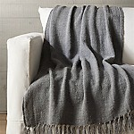 Aris Grey Fringe Throw