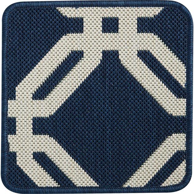 """Arlo Blue Indoor/Outdoor 12"""" sq. Rug Swatch"""