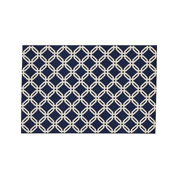 Arlo indoor outdoor blue lattice rug 5 39 x8 39 crate and barrel for Cb2 indoor outdoor rug