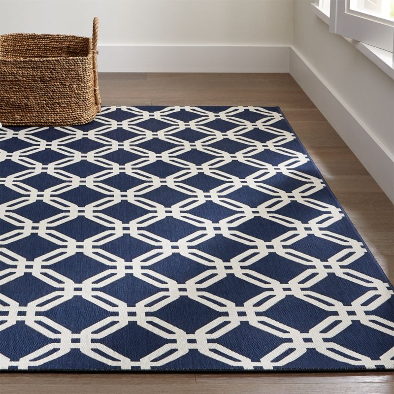 Arlo Blue Outdoor Rug | Crate and Barrel | title