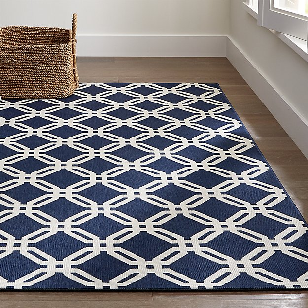 Arlo Blue Outdoor Rug | Crate and Barrel