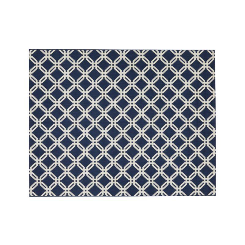 Arlo blue indoor outdoor 8 39 x10 39 rug crate and barrel for Cb2 indoor outdoor rug