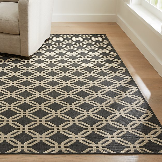 Arlo ii indoor outdoor shiitake lattice rug crate and barrel for Cb2 indoor outdoor rug