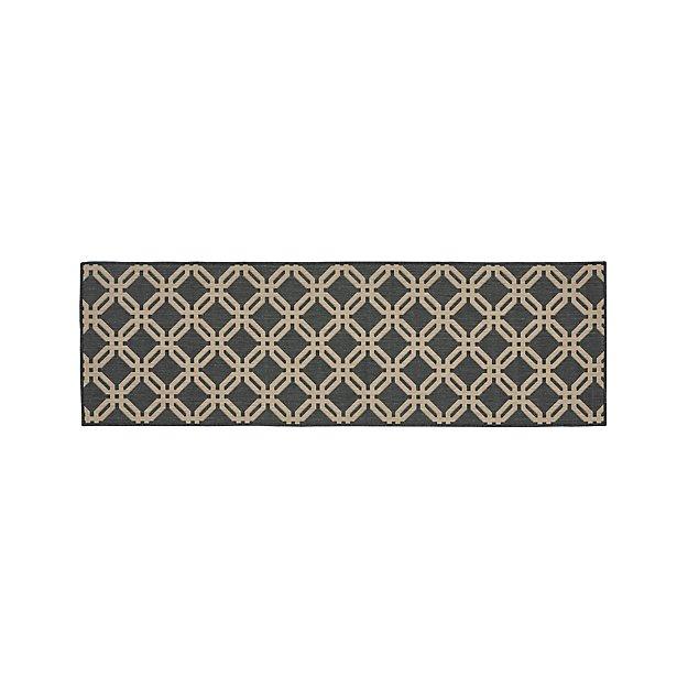 Arlo ii indoor outdoor shiitake lattice rug runner for Cb2 indoor outdoor rug