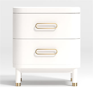 Kids Arlo White and Gold Nightstand