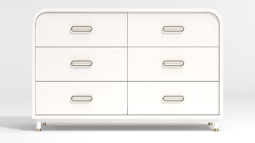 Kids Arlo Wide White and Gold Dresser - Image 1 of 4
