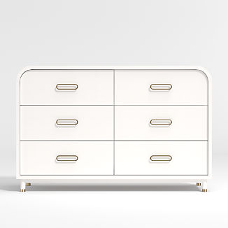 Kids Arlo Wide White and Gold Dresser