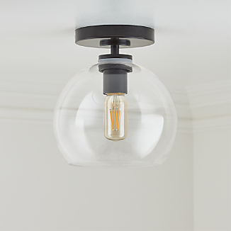 Arren Black Flush Mount Light with Clear Round Shade
