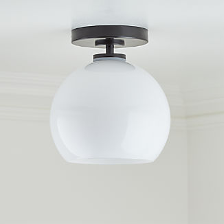 Arren Black Flush Mount Light with Milk Round Shade