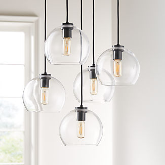 Arren Black Round 5-Light Pendant with Clear Round Shades