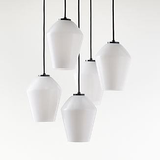 Arren Black Round 5 Light Pendant With Milk Angled Shades