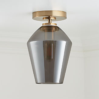 Arren Brass Flush Mount Light with Silver Angled Shade