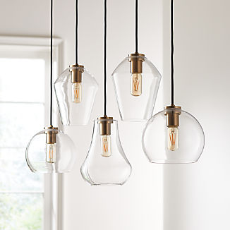 Arren Brass Linear 5-Light Pendant with Clear Mixed Shades