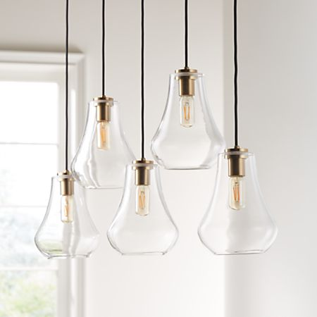 Arren Br Linear 5 Light Pendant With Clear Teardrop Shades Crate And Barrel
