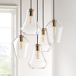 Arren Brass Round 5-Light Pendant with Clear Mixed Shades